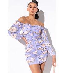 akira best dressed mini ruched long sleeve off the shoulder dress