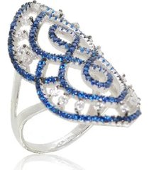 anel arabesco cravejado safira - tricae