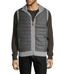 amicale men's wool cashmere quilted vest - medium grey - size l