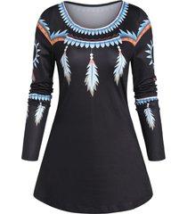 feather print tunic swing t shirt