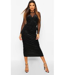 mesh/velvet studded midi dress, black