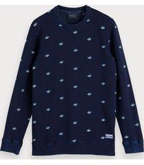 scotch & soda indigo sweater met print
