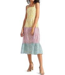 sam edelman women's printed colorblock midi dress - pastel multi - size 4