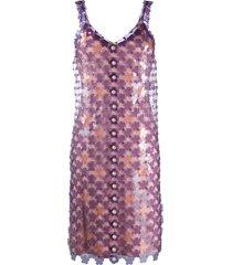 paco rabanne paillette-embellished shift dress - purple