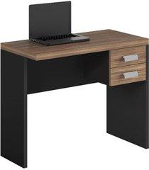 mesa de computador 900 e gaveteiro studio argan/pretotex- caemmun