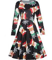 plus size snowflake print christmas dress