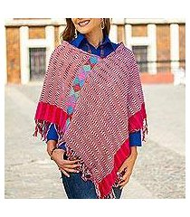 cotton poncho, 'afternoon geometry' (mexico)