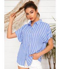 blusa de manga corta con cuello clásico y botones delanteros a rayas azules de yoins