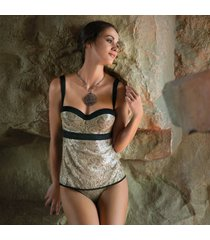 ambra lingerie set lurex bh-top geel 2120/1125