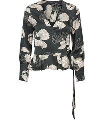 feminine wrap top blouse lange mouwen zwart scotch & soda