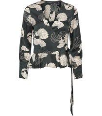 feminine wrap top blouse lange mouwen zwart scotch & soda