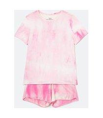 pijama curto em viscolycra estampa tie dye | lov | rosa | g