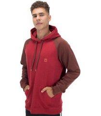 blusão de moletom com capuz hang loose bicolor - masculino - vermelho/vinho