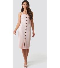 na-kd ribbed button up midi dress - pink