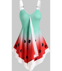 watermelon print pointed hem o-ring tank top