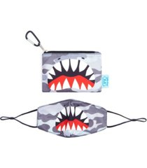 camo shark face mask, pouch set