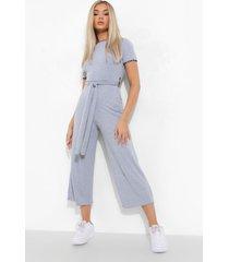 luipaardprint culotte jumpsuit met contrasterende zoom, grey