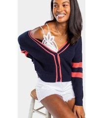 norine varsity stripe cardigan sweater - navy