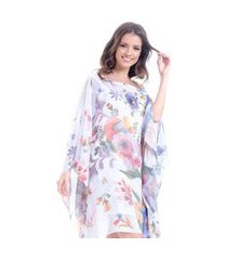 kaftan 101 resort wear vestido crepe estampado tapecaria multicolorido