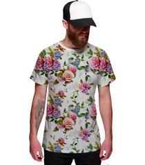 camiseta di nuevo floral rosa e violeta off white branca - branco - masculino - poliã©ster - dafiti