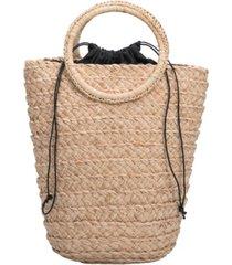 melie bianco tiffany medium straw bucket bag