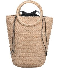 melie bianco tiffany medium straw bucket bag