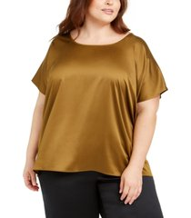 eileen fisher plus size scoop-neck satin top