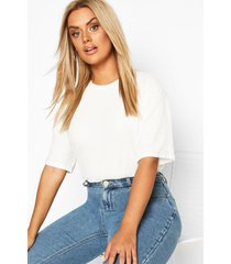 plus soft rib oversized t-shirt, ivory