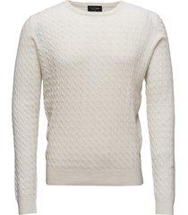 neuxes, men's o-neck stickad tröja m. rund krage creme bruun & stengade