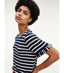 tommy hilfiger women's relaxed fit stripe t-shirt navy / white stripe - s