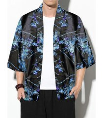 hombres casual japanese road túnica kimono sunscreen all over print cardigan