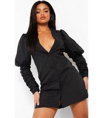 getailleerde blazer jurk met pofmouwen en ruches, zwart