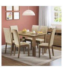 conjunto sala de jantar sara madesa mesa tampo de madeira com 6 cadeiras rustic/imperial rustic
