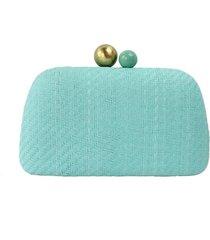 bolsa clutch sintético com detalhes em palha azul - kanui