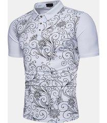 camicia da golf da uomo casual elegante in cotone con stampa da uomo