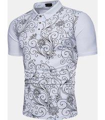 mens casual elegante stampato sottile fit business casual golf camicia