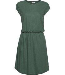 short sleeve pleated waist dress stickad klänning grön gap