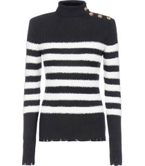 balmain striped viscose knit turtleneck