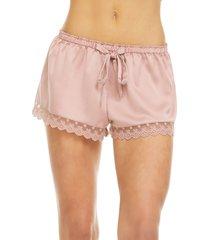 women's flora nikrooz victoria satin lounge shorts, size small - pink