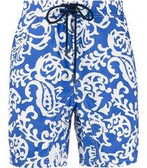 etro paisley print drawstring swim shorts - blue