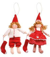 enfeite natal decorativo boneca vestido branco e vermelho