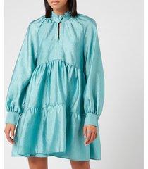 stine goya women's jasmine tiered mini dress - aqua - l