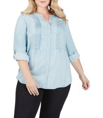 plus size women's foxcroft kira pleated garment dyed blouse, size 16w - blue