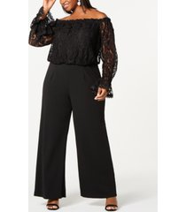 adrianna papell plus size off-the-shoulder lace jumpsuit