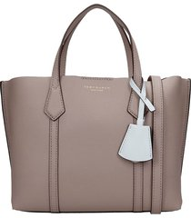 tory burch perry tote in grey leather