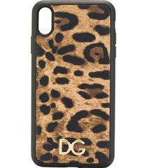 dolce & gabbana leopard-print iphone xs max phone case - brown