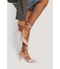 na-kd shoes spetsiga pumps med vristrem - pink