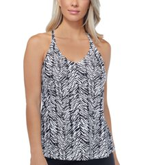 island escape eye of the tiger printed underwire tankini top, created for macy's women's swimsuit