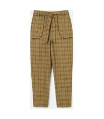 calça cargo em alfaiataria grid com amarração no cós | blue steel | marrom | gg