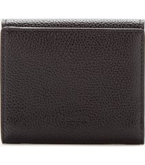 coach women's polished pebble tabby small wallet - black
